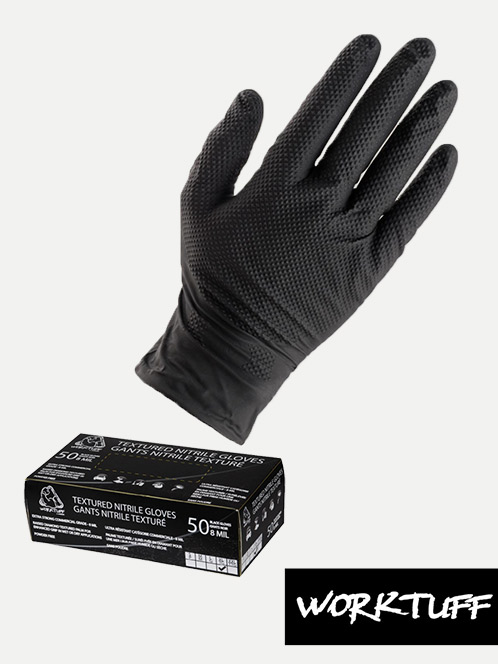 WorkTuff Textured Nitrile Black Gloves (50 Box)