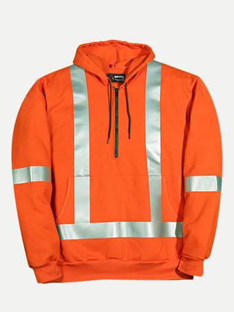 Big Bill 14 oz Flamex® FR 1/4 Front Zip Hooded Hiviz Sweatshirt