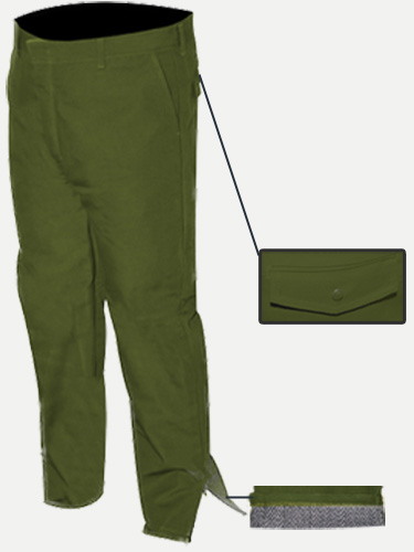Big Al Green Duck Lined Pants 100% Coton